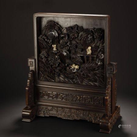 Qing Dynasty, Zitan Table Screen