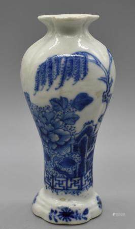 Blue and White lobed vase with Willow tree