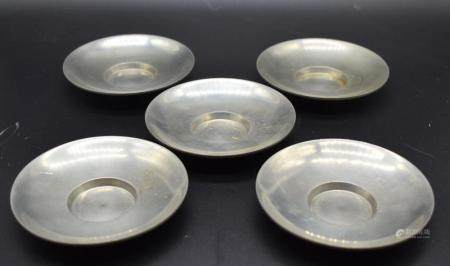 set of 5 paktong saucer