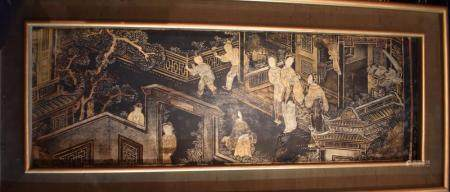 Pair of Chinese Lacquered Panel