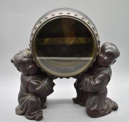 Bronze Karako Clock Stand