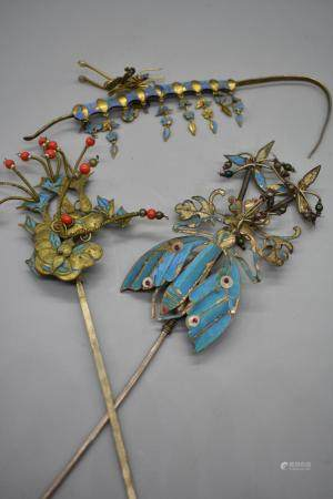 Chinese Set of 3 Kingfisher Feather Hairpins