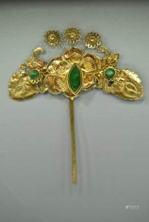 Chinese Goldsheet hair pin with jade