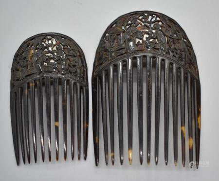 Set of 2 Tortoise shell comb, Chinese