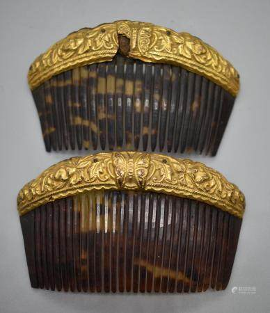 Pair of Tortoise shell comb, Chinese