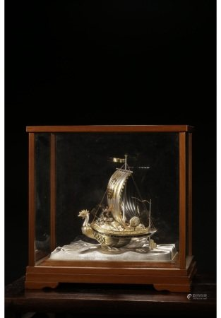 昭和时期纯银错金满载而归摆件(附原收藏老木盒) SHOWA PERIOD SILVER & GOLD BOAT
