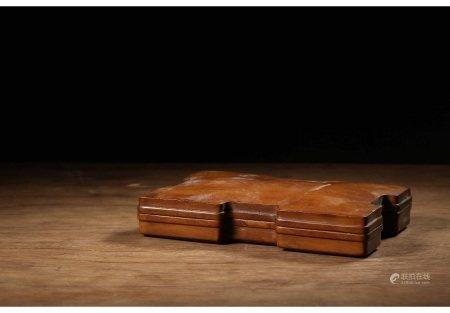 黄杨木整挖雕工字型素面文房盖盒 BOXWOOD BOX