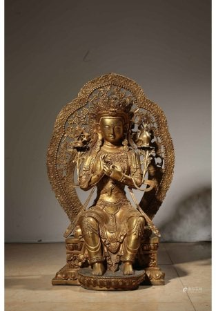铜鎏金度母坐像 BRONZE GILT GREEN TARA