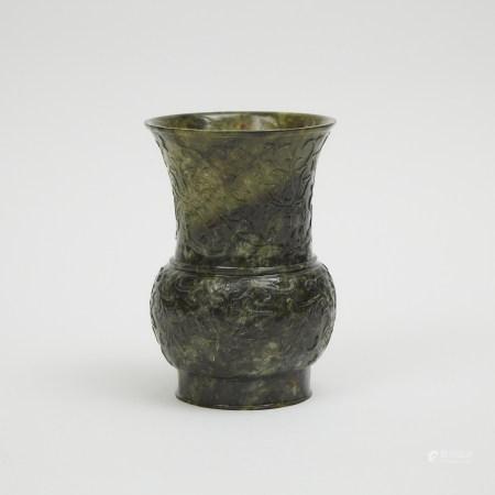 A Spinach Jade Carved Vase 碧玉雕蓮紋瓶