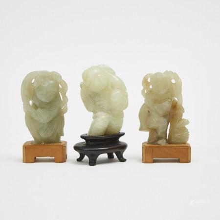 A Group of Three Jade Carved Figures 玉雕童子三件
