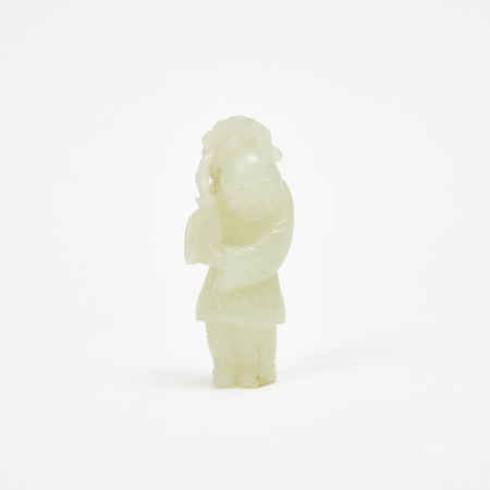 """A Jade Carved Boy With Vase 玉雕""""連生貴子"""""""