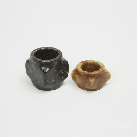 Two Miniature 'Cong' Carvings 硬石雕琮兩件