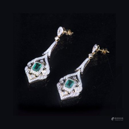 A PAIR OF EMERALD AND DIAMOND EARRINGS, GLA CERTIFIED