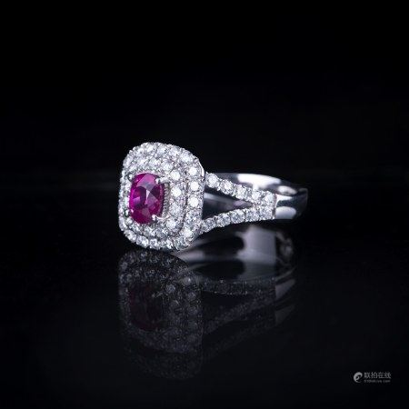 A RUBY &DIAMOND RING, GIA & AIG CERTIFIED