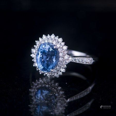 A SAPPHIRE & DIAMOND RING, GIA AND AIG CERTIFIED