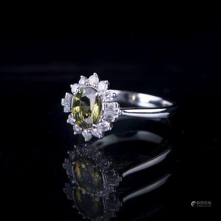AN ALEXANDRITE & DIAMOND RING, GIA & AIG CERTIFIED