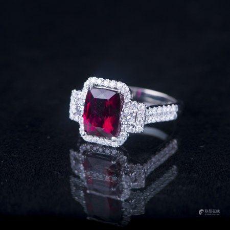 A RUBYLLITE & DIAMOND TOURALINE RING, IAS CERTIFIED