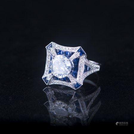 A DIAMOND & SAPPHIRE RING, AIGL CERTIFIED