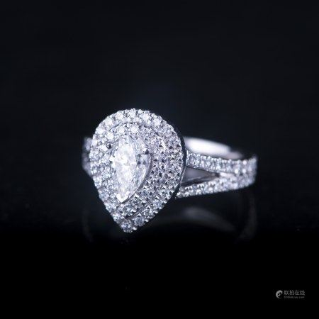 A DIAMOND PLATINUM RING, WITH GIA & GLA CERTIFIED