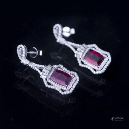 ONE PAIR RUBELLITE & DIAMOND DANGLE EARRINGS, AIG CERTIFIED