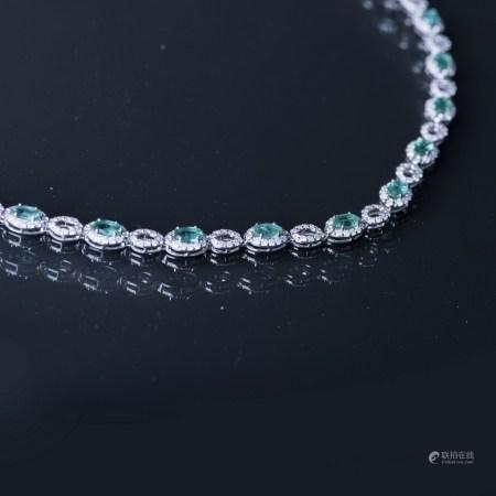 AN EMERALD & DIAMOND NECKLACE, AIG CERTIFIED
