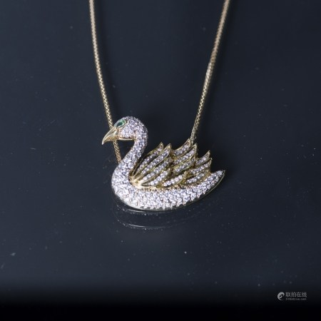 A YELLOW GOLD SWAN PENDANT,  GLS CERTIFIED