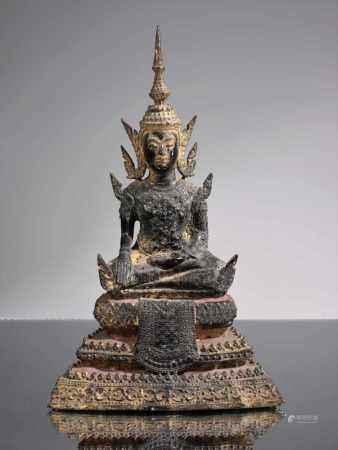 BUDDHA Bronze rest gilt Thailand , Ratanakosin around 1850 Dimensions: Height 25 cm Weight: 1528