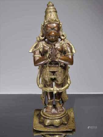 STANDING BI-METALL HANUMANBronzeIndia , 18th centuryDimensions: Height 29 cm Weight: 4144