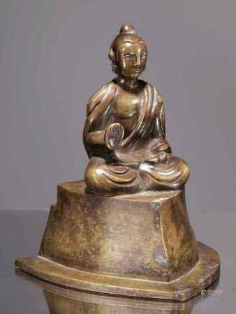 MEDITATING BUDDHABronzeChina 20th centuryDimensions: Height 13 cm ; Wide 10 cm ; Depth 10