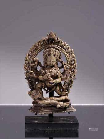 BHAIRABABronzeNepal 17th centuryDimensions: Height 11 cm ; Wide 6 cm ; depth 3 cmWeight: 432 grams