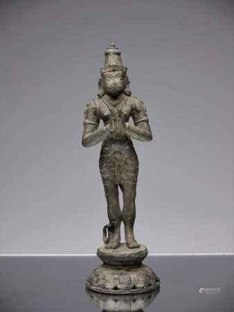 HANUMANBronzeIndia 17th centuryDimensions: Height 25 cm ; Wide 8 cm ; Depth 7 cmWeight: 1176
