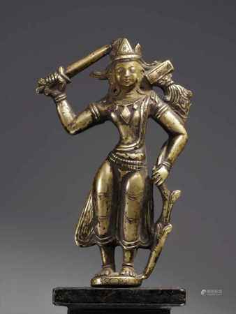 STANDING MANJUSRIBronze , face cold gilt , Tibet or Ladakh , 13th centuryDimensions: Height 14
