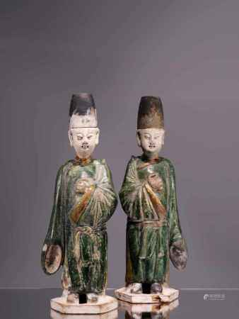 TWO CHINESE OFFICIALSPainted earthenwareChina , Ming Dynasty Dimensions: Height 33 cmWeight: Both