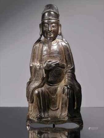 IMPERIAL LORD WENCHANGBronzeChina , 16th century , late Ming DynastyDimensions: Height 31 cm Wide 15