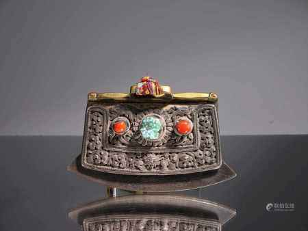 LIGHTERIron and Bronze with Coral and TurquoiseTibet, 18th centuryDimensions: Wide 13 cm Height 9,