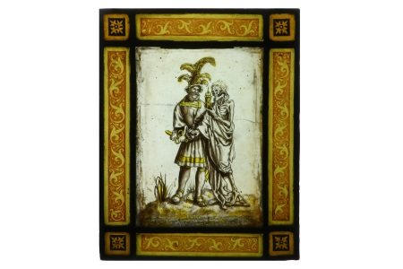 A LATE 16TH / EARLY 17TH CENTURY CENTURY MOMENTO MORI STAINED GLASS PANEL, PROBABLY SWISS