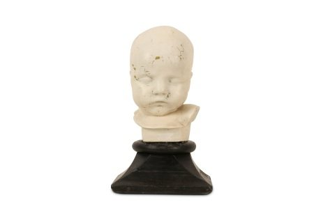 A LATE 19TH / EARLY 20TH CENTURY PAINTED PLASTER BABY DEATH MASK