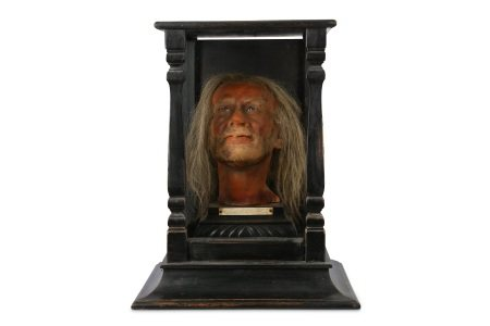 A 19TH CENTURY CASED WAX HEAD OF ARCHIBALD HARE FROM MADAME TUSSAUDS