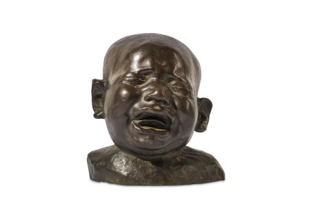A LATE 19TH CENTURY BRONZE HEAD OF A CRYING CHILD IN THE MANNER OF FRANZ XAVER MESSERSCHMIDT