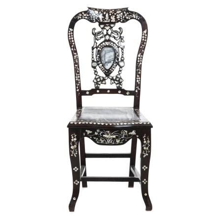 Chinese chair with mother of pearl, Minguo