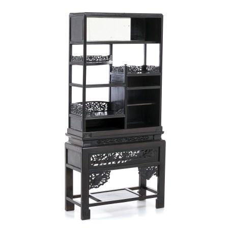 Two-module Chinese hongmu bookcase