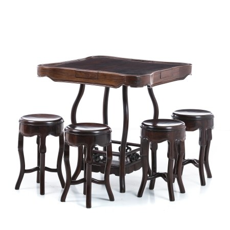 Mahjong table with four benches in hongmu