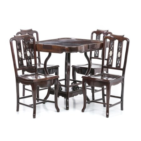 Hongmu Mahjong table and four chairs