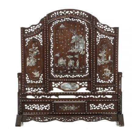 Chinese hongmu inlaid table screen
