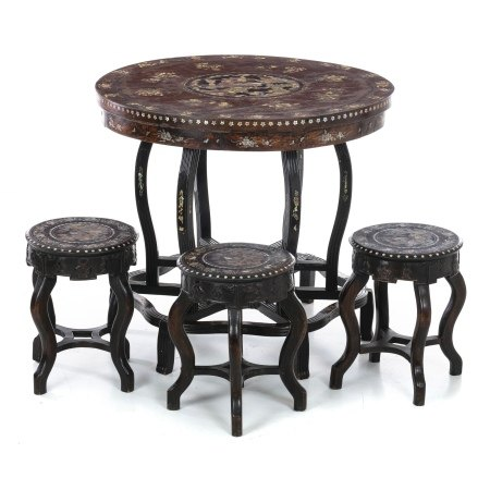 Chinese table and three stools with mother-of-pearl dragon inlays