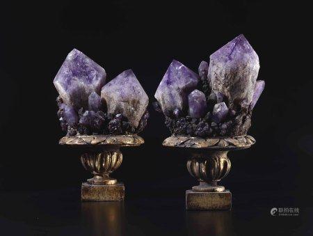Coppia di cristalli di ametista  - su base in legno -
