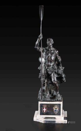 """Trofeo remiero """" Coppa Principe di Piemonte """" Bronzo fuso e cesellato, Argento [...]"""