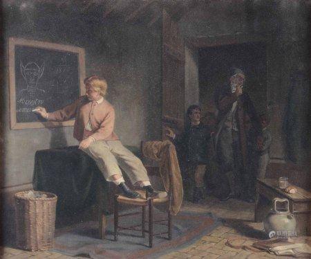 Anonimo del XIX secolo, Fanciullo alla lavagna - olio su tela, cm 54x45 -