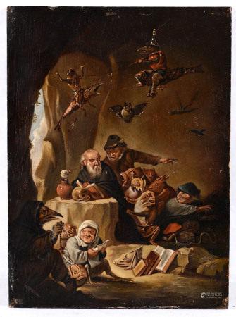 Scuola fiamminga del XVIII secolo, Le tentazioni di Sant'Antonio - olio su tavoletta, [...]
