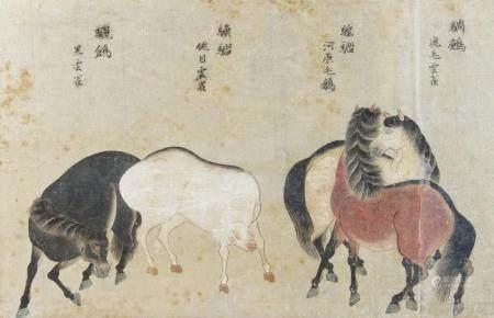 CHINE, DYNASTIE MING (1368-1644) Scène de chevaux
